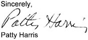Patty Harris testimonal signature